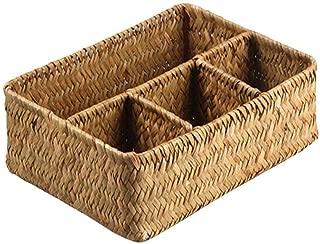 Taimot Hand-Woven Rectangular Storage Basket with 4 compartments, Seaweed Weaving Handmade Desktop Organizing Rattan Basket, Storage for Toys Magazines Jewelry