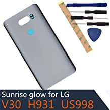 H930 Glass Battery Back Cover Compatible with LG V30 H930 H933 H931 H932 VS996 US998 LS998U (Cloud Silver)
