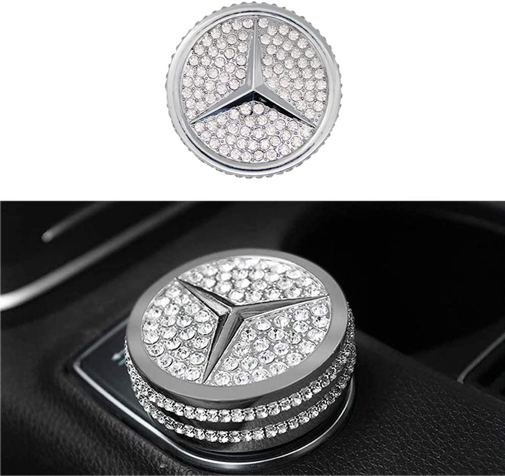 Shiny Bling Car Interior Accessories Center Control Multimedia Button Emblem Decal Sticker Cover for Mercedes-Benz