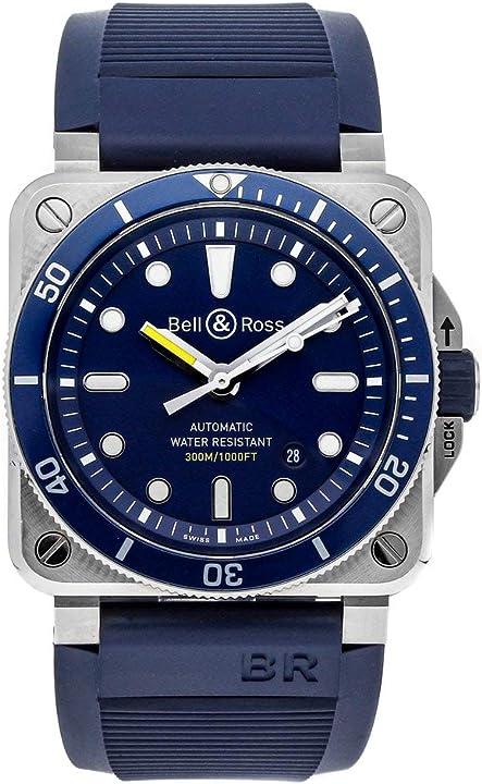 Orologio - bell & ross diver automatico quadrante blu mens watch br0392-d-bu-st/srb BR-03-92-DIVER-BLUE