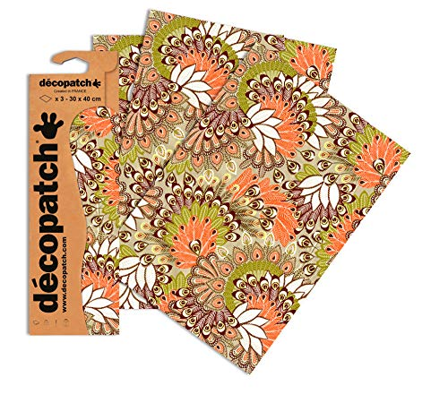 Decopatch Papier No. 582 (gold orange Pfauenfeder, 395 x 298 mm) 3er Pack