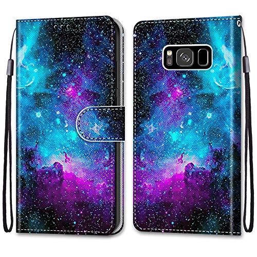 Nadoli Handyhülle Leder für Samsung Galaxy S8,Bunt Bemalt Lila Sternenhimmel Trageschlaufe Kartenfach Magnet Ständer Schutzhülle Brieftasche Ledertasche Tasche Etui