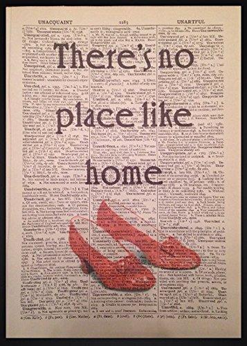 """Kunstdruck """"There's No Place Like Home"""", Zitat aus Der Zauberer von Oz, Wörterbuch, Vintage"""