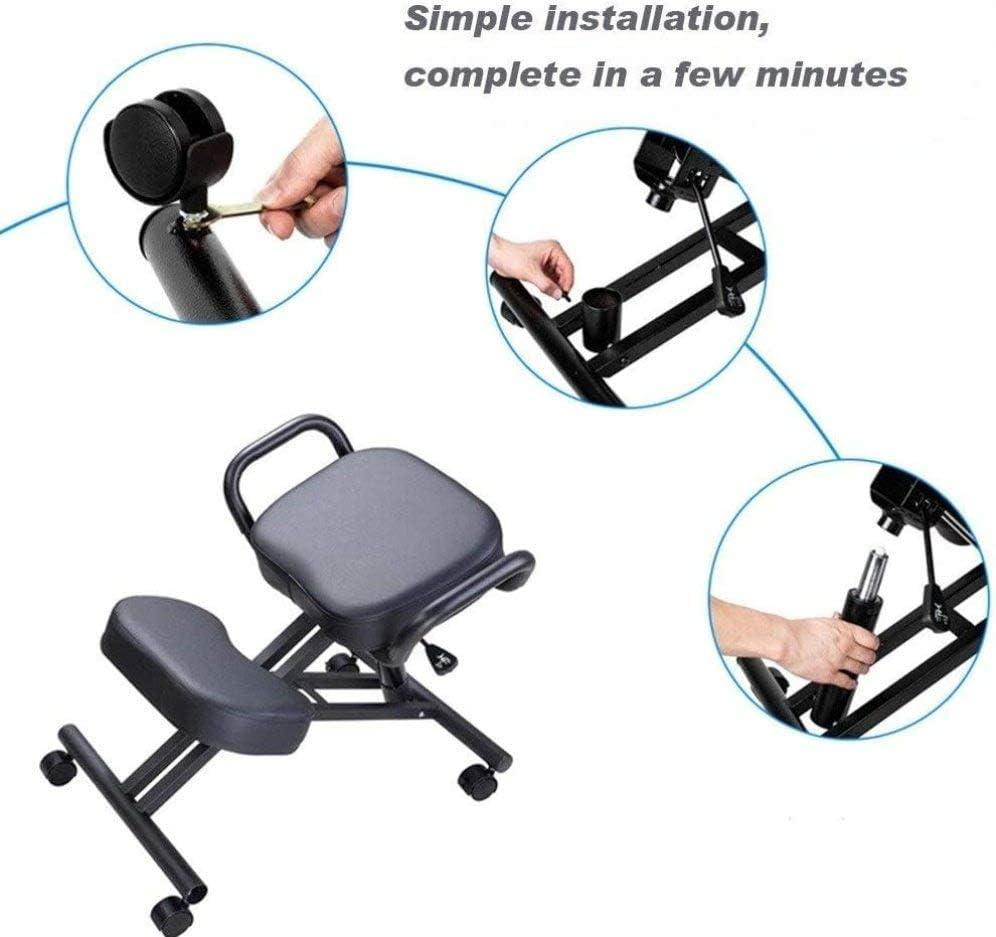 MRWW Chaises de Bureau du siège Similicuir, Posture Ergonomique Tabouret orthopédique Genoux, réglable avec des Rouleaux pour améliorer la Posture chez rouge
