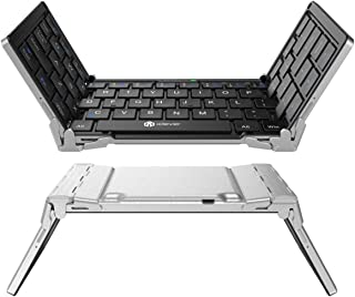 iClever iClever Portable Folding Keyboard, Ultra Slim Pocket Size Bluetooth Keyboard Wireless with Carry Pouch, Premium Al...