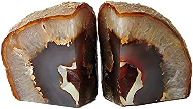 AMOYSTONE Stone Bookends for Shelf Decorative Agate Heavy Book Ends Nature Brown Small(1 Pair, 2-3 LBS)