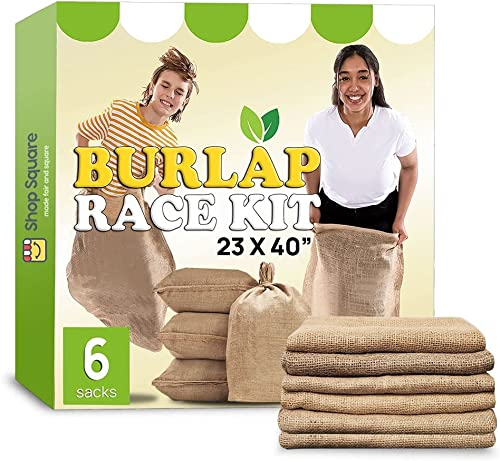 """lowest Large Burlap Potato Sack Race Bags, 23x40"""" Burlap Bags, Outdoor Lawn Games for Kids online sale & Adults -Fun for 4th of July wholesale BBQ, Picnic, Block Party, Family Reunion, Birthday Party, Halloween, Easter - Set of 6 outlet online sale"""