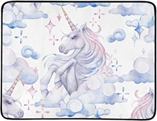 Watercolor Unicorn Horse in The Sky Pattern Portable and Foldable Blanket Mat 60x78 Inch Handy Mat for Camping Picnic Beach Indoor Outdoor Travel