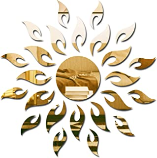 Wall1ders - Sun 1.5 Feet Golden 3D Acrylic Stickers, 3D Acrylic Mirror Wall Stickers for Living Room, Hall, Bed Room & Home