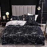 Boqingzhu Bettwäsche 135x200cm Marmor Optik Schwarz Weiß Modern Bettwäsche Set Microfaser Einzelbett Wendebettwäsche Bettbezug und Kissenbezug 80×80cm mit Reißverschluss