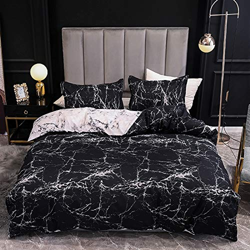 Boqingzhu Marble Duvet Cover Set Double Black and White Marble Pattern Printed Bedding Set Reversible Microfiber Quilt Cover and Pillow cases with Zipper Closure