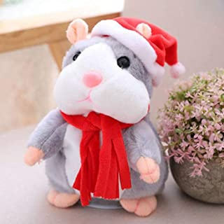 Plush Animal Toy Omaky Cheeky Talking Hamster Mouse Pet Christmas Toy Speak Sound Record Hamster Gift for Boys, Girls & Baby Interactive Toys for Valentine's Day (Gray)