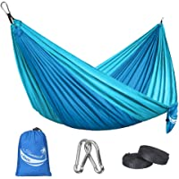 JBM Single & Double Camping Hammock with Nylon Ropes and Steel Carabiners
