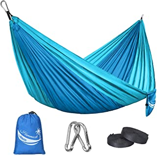 JBM Camping Hammock Single/Double Portable Parachute Hammock Hiking Travel Backpacking - Nylon Hammock Swing - Support 400lbs - 600lbs with Nylon Ropes and Steel Carabiners