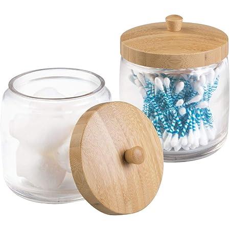 mDesign Récipient de meuble de salle de bain pour boules de coton, disques à démaquiller, coton-tiges - Paquet de 2, Transparent/Naturel