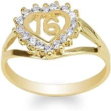JamesJenny Womens 10K Yellow Gold Round CZ Sweet 16 Beautiful Heart Ring Size 4-10