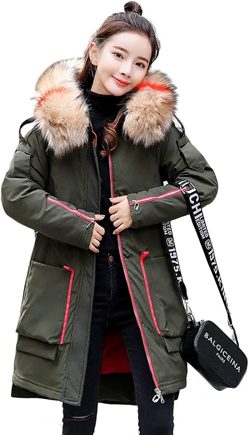Fashion Long Down Cotton Coat Women's Hooded Slim Jacket Winter Warm Thick Coat (color   Green, Size   M)