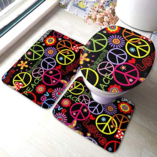 3 Piece Team Bath Rug Set,Anti-Skid Bathroom Toilet Contour Mat Washable(Colorful Sign Hippie with Peace Symbol Mushrooms and Abstract Flowers 70S Power 60S)