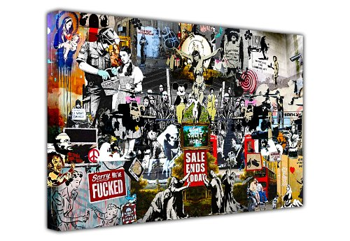 CANVAS IT UP Großer Wandaufkleber, Banksy Print, Collage, Leinwand, Prints, Mix, Graffiti, Best of Banksy Kollektion, Wall Art, New Age Art–Foto, Druck, Bild, tolle Deko für Zuhause