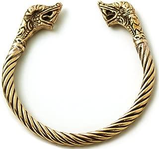 Bronze Norse Viking Naga Snake Serpent King Head Twisted Cable Bangle Cuff Bracelet ArmRing Pagan Jewelry