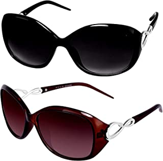 1806ac651f4d Y&S Cat Eye Sunglasses for Womens and Girls Black Brown Ladies Butterfly  Oval Sunglasses Combo
