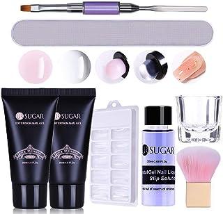 UR SUGAR 30ML Kit Uñas Acrilicas Poly Rápida Gel Acrilico para Uñas Kit Completo Rosa + Claro Poligel Uñas Kit Completo P...