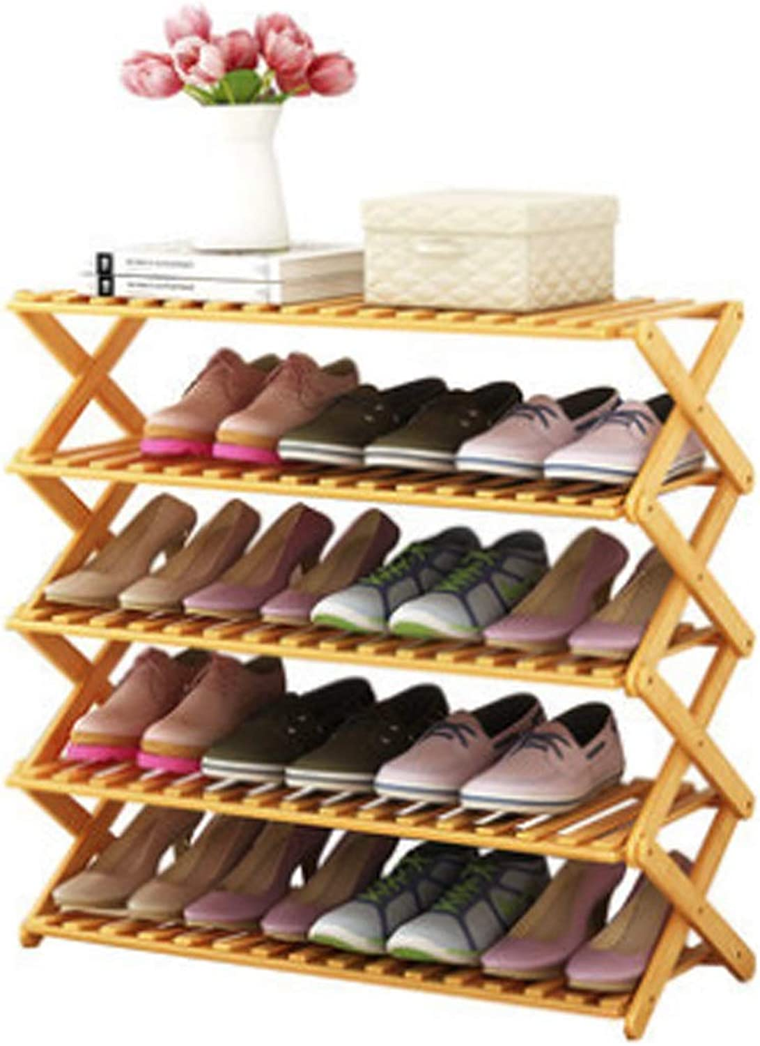 shoes Rack, Small shoes Cabinet, Home Wood color Foldable Bamboo Shelf, Assembled Dormitory Storage Rack, Multi-Special Optional (Size   50 Models)