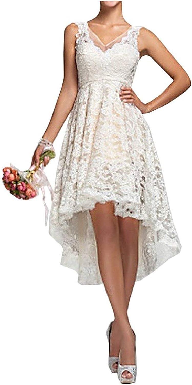 Cdress High Low Wedding Dress Lace Short VNeck Short Bridal Dress HiLo Bride Gowns Plus Size