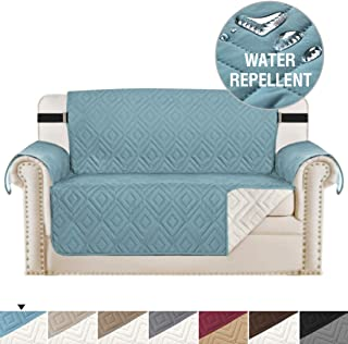 Reversible Sofa Slipcover Loveseat Cover Furniture Protector Anti-Slip Couch Cover Water Resistant 2 Inch Wide Elastic Straps Couch Covers for Pets Kids (Love Seat Medium, Stone Blue/Beige)