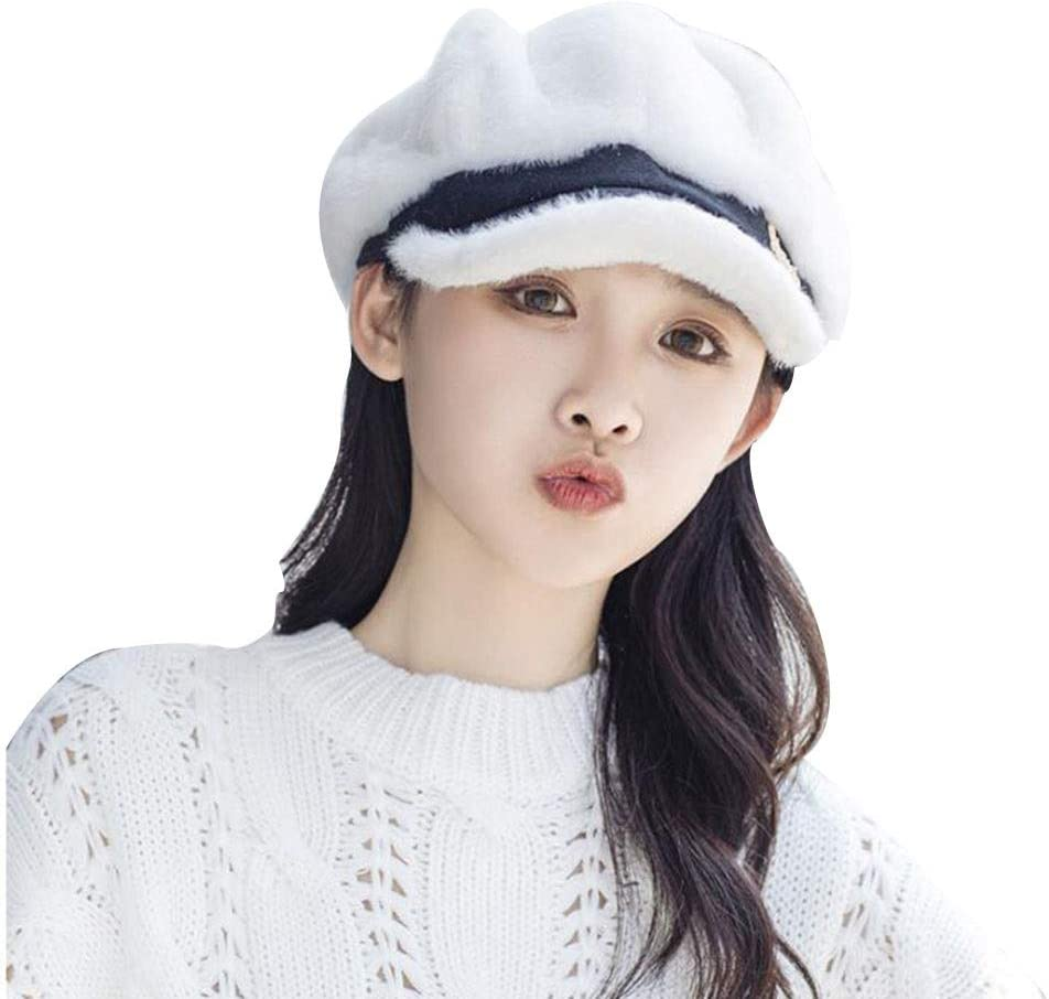 FOLDING Hats Caps Female Protective Hat Set, Breathable Lightweight Safety Mask, Windproof Plush Beret (Color : White)