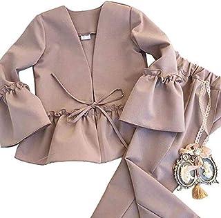 Little Girl Clothing Set Kids Elegant Sweet Autumn Coat + Long Pant 2 Piece Suit Set