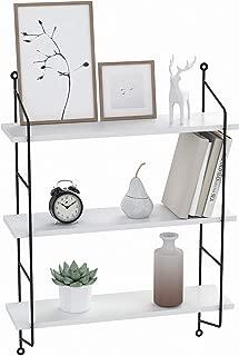 BATHWA 3-Tier Industrial Floating Shelves Wall Mounted Display Wall Shelf Storage Rack Wall Rack Holder Rack(White)