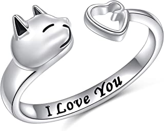 Cat and Heart Rings S925 Sterling Silver Adjustable Animal Rings