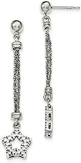 925 Sterling Silver Cubic Zirconia Cz Star 2 Strand Post Stud Drop Dangle Chandelier Earrings Fine Jewelry For Women