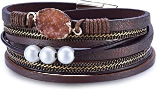 Women Multilayer Leather Wrap Bracelet Handmade Wristband Beads Cuff Bangle with Magnetic Buckle Jewelry for Ladies Girls
