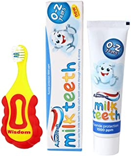 Wisdom Step-by-Step Baby Toothbrush 0-2 Years and Aquafresh Milk Teeth Babies Toothpaste 50ml Set, Supersoft Brush Extra Small Head, Gentle Brushing & Cleaning
