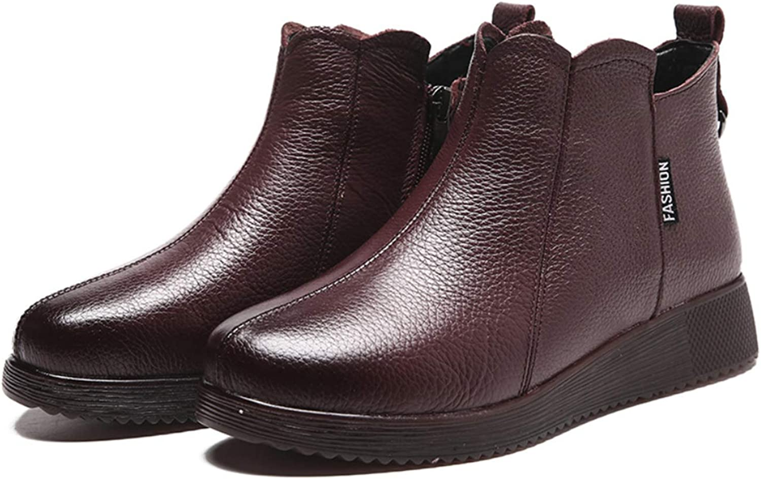 Women's ankle boots full round leather retro booties in upper layer European and American style national autumn and winter new flat shoes,Purple,39EU