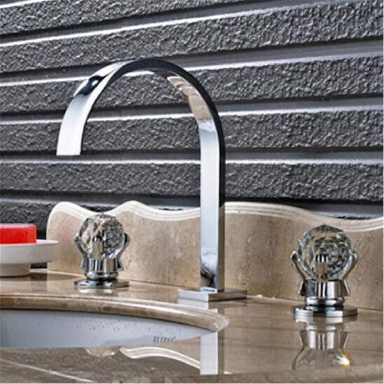 Wasserhahn Waschtischmischer shinesia New Style Waschbecken Wasserhahn Verbreitet 3 Stücke Becken Mischbatterie Mit Doppel Kristall Griff