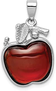 Solid 925 Sterling Silver Red CZ Cubic Zirconia Cabochon Apple Pendant (16mm x 26mm)