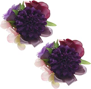 Febou Wrist Corsage 2 Packs Wedding Bridal Wrist Flower Wristband Hand Flower for Bride Bridesmaid Perfect for Wedding, Prom, Party (Wrist Flower, M-Purple)