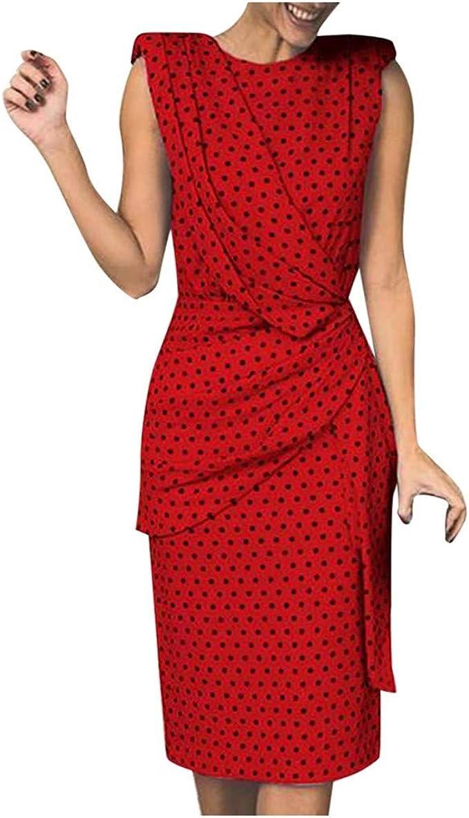 Lulup Polka Dot Kleid Knielang Damen Elegant Figurbetontes Kleid ...
