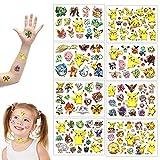 GUBOOM Tatuaggi Temporanei per Bambini, 8 Fogli Pikachu Tatuaggi Bambini, Pokemon Tatuaggio impermeabile, Tatuaggi delicati sulla pelle Adatto per feste di compleanno di ragazzi e ragazze