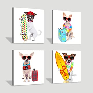 Hardy Gallery Puppy Canvas Painting Artwork: Funny Dog Picture Painting Print on Canvas for Kids Room (12'' x 12'' x 4 Panels)