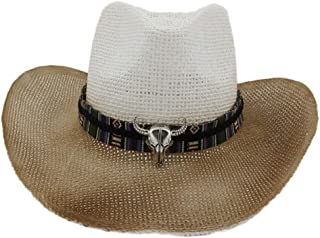Duyani Spray al Aire Libre Paja Sombrero de Vaquero Hombres Mujeres Verano Sombrero for el Sol Visera Cabeza de Vaca Color Tejido Cinturón Sombrero de Playa (Color : 3, Size : 56-58cm)