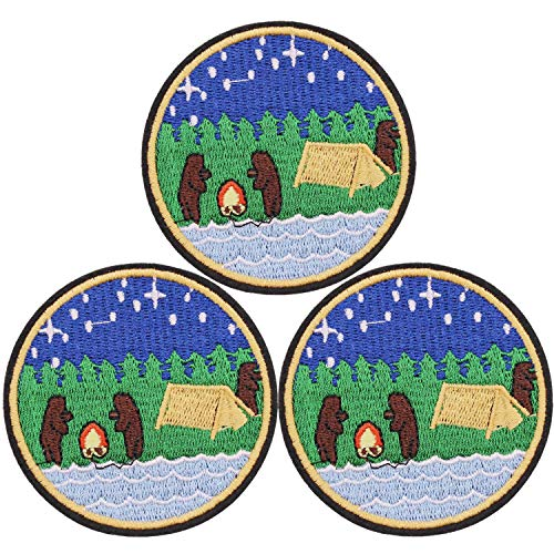 U-Sky Cute Iron on Patches for Backpacks, 3pcs Outdoor Camping Bears Adventure Embroidered Sew on/ Iron-on Clothes Patch for Park Forest Ranger Jackets, Biker Vest, Jeans, Bags, Size: 2.83x2.83 inch