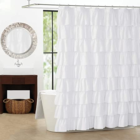 Jody Clarke 1pc Shower Curtain Gypsy Ruffle Bathroom Curtain With Ruffle Crushed Semi Sheeer Voile Panel Fully Stitched 70 Wide X 72 Long White Kitchen Dining
