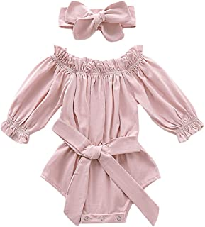 Mailza Baby Girls Off-Shoulder Clothes Ruffled Long Sleeves Romper Bowknot Onesies and Headband Outfits