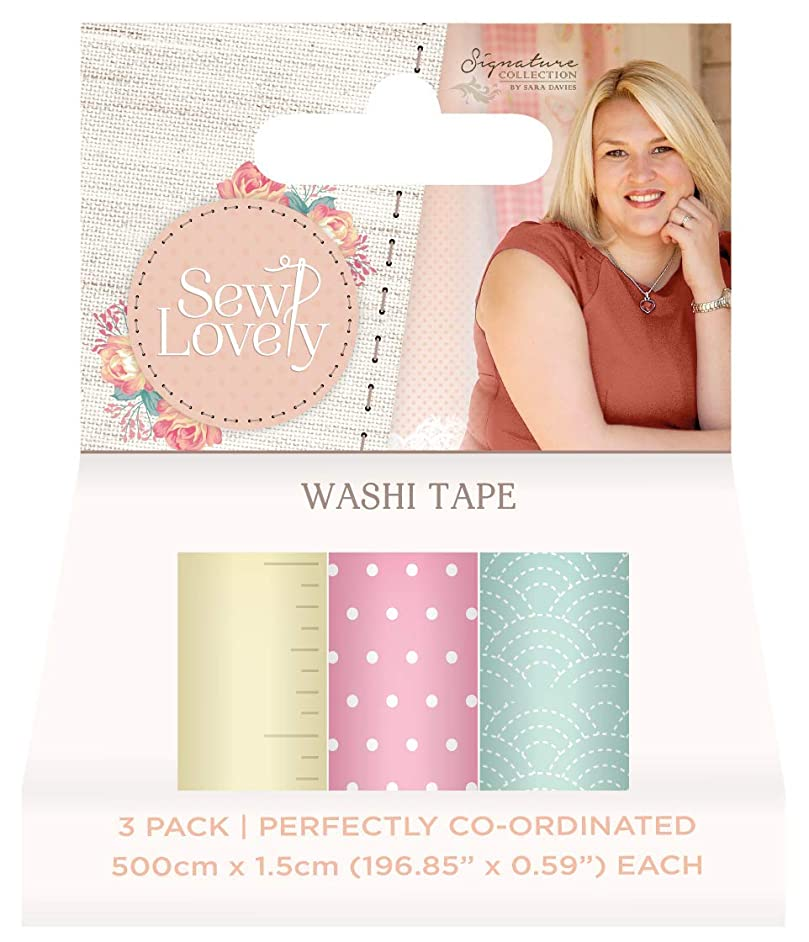 Sara Signature Collection S-SL Sara Signature-Sew Lovely (3pk) Washi Tape, 5-inch x 7-inch, Assort. Colors