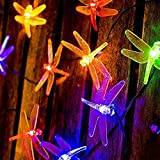 Solar String Lights LED Dragonfly, Outdoor Waterproof Lights 20 LED Fairy Lighting 2 Modes (Steady, Flash) Garden Lamp Decorations for Party, Fence, Christmas Tree, Wedding, Holiday - Multi Color