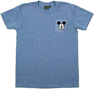 Disney Men's Blue Mickey Mouse Head Pocket Shirt (Medium)